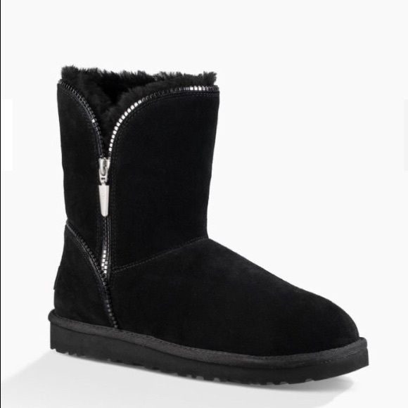 UGG Florence Short Black Suede Zipper Boots US 5 NWT